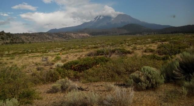 De Shasta vulkaan 4200 meter hoog.
